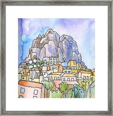 Perched Village Provence  Framed Print by Elizabetha Fox