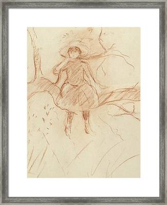 Perching In The Tree Framed Print by Berthe Morisot