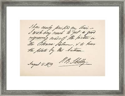 Percy Bysshe Shelley, 1792 Framed Print
