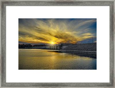 Percy Priest Dam At Sunset Framed Print by Steven  Michael