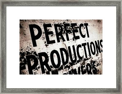 Framed Print featuring the photograph Perfect Productions by Gray  Artus