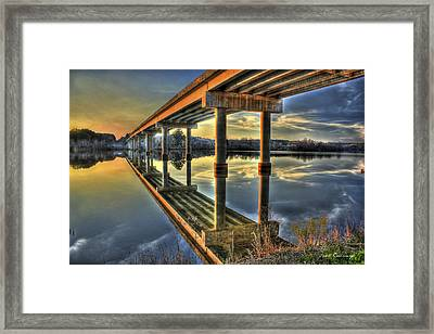 Perfect Reflection Bridges Of Georgia Framed Print by Reid Callaway