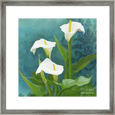 Framed Print featuring the painting Perfection - Calla Lily Trio by Audrey Jeanne Roberts