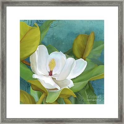 Framed Print featuring the painting Perfection - Magnolia Blossom Floral by Audrey Jeanne Roberts