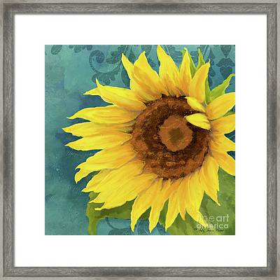 Framed Print featuring the painting Perfection - Russian Mammoth Sunflower by Audrey Jeanne Roberts