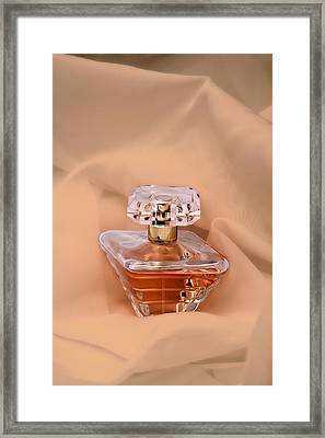 Perfume Bottle Still Life IIi In Peach Framed Print by Tom Mc Nemar
