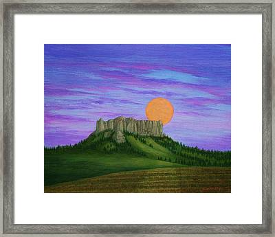 Perigee Moon Rising Above Crow Butte Framed Print