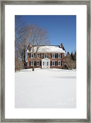 Period Vintage New England Brick House In Winter Framed Print by Edward Fielding