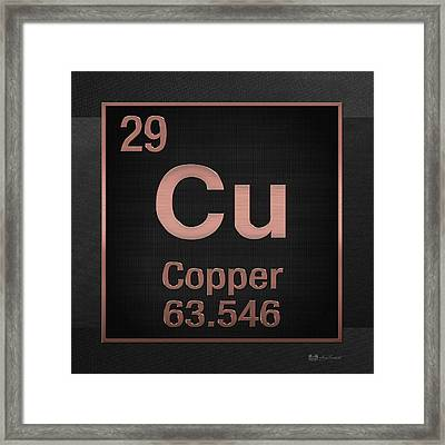 Periodic Table Of Elements - Copper - Cu - Copper On Black Framed Print