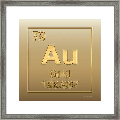 Periodic Table Of Elements - Gold - Au - Gold On Gold Framed Print