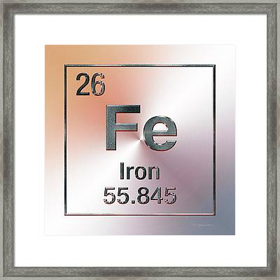 Periodic Table Of Elements - Iron Fe Framed Print