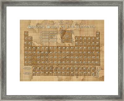 Periodic Table Of The Elements Vintage 5 Framed Print