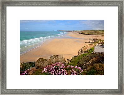 Perranporth Beach North Cornwall England One Of The Best Surfing Beaches In The Uk Framed Print