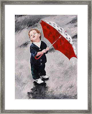 Perry In The Rain Framed Print by Denise H Cooperman