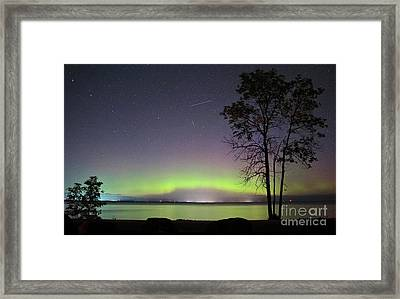 Perseid Meteor And Aurora Framed Print