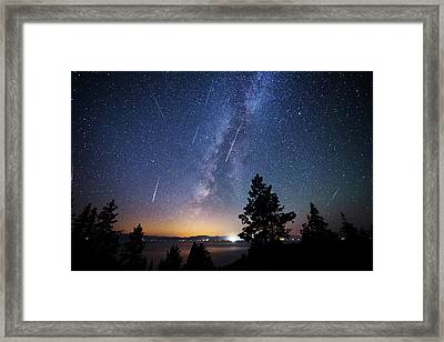 Framed Print featuring the photograph Perseid Meteor Shower From Tahoe by Brad Scott