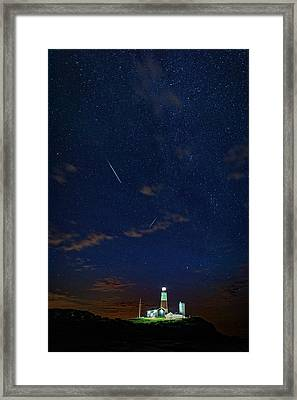 Perseids Over Montauk Point Framed Print by Rick Berk