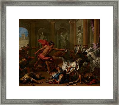 Perseus Confronting Phineus With The Head Of Medusa Framed Print by Mountain Dreams