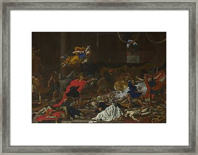 Perseus Turning The Followers Of Phineus Into Stone Framed Print by French or Flemish