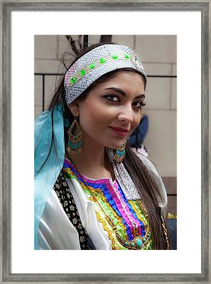Persian Day Parade Nyc 2017 Persian Woman In Traditional Dress Framed Print by Robert Ullmann