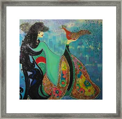Persian Women With The Bird Framed Print