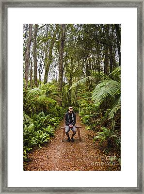 Person At Peace In Tropical Jungle In Australia Framed Print by Jorgo Photography - Wall Art Gallery