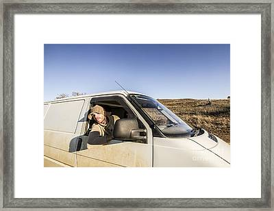 Person On Road Trip In Tasmania Framed Print