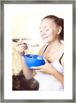 Person Outdoors Eating A Bowl Of Oat Meal And Milk Framed Print