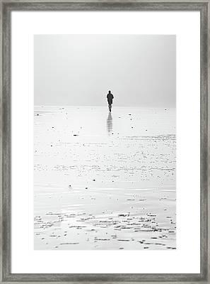 Person Running On Beach Framed Print
