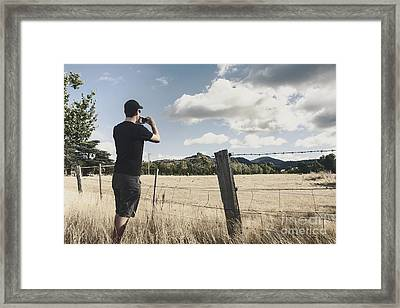 Person Taking Photograph Of A Tasmanian Landscape Framed Print by Jorgo Photography - Wall Art Gallery