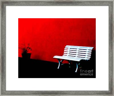 Perspective In Bench White   Framed Print by Steven  Digman