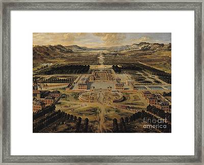 Perspective View Of The Chateau Gardens And Park Of Versailles Framed Print by Pierre Patel