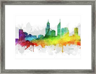 Perth Skyline Mmr-aupe05 Framed Print by Aged Pixel