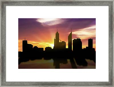 Perth Skyline Sunset Aupe22 Framed Print by Aged Pixel