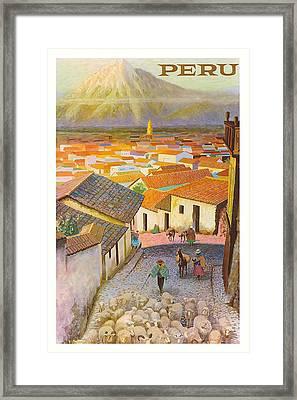 Peru El Misti Volcano Vintage Travel Poster Framed Print by Retro Graphics