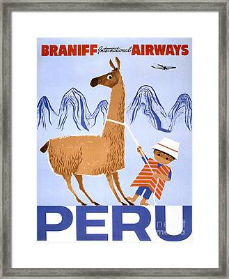 Peru Vintage Travel Poster Restored Framed Print
