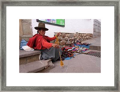 Framed Print featuring the photograph Peruvian Weaver by Aidan Moran