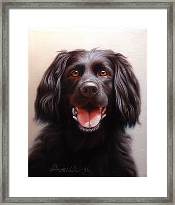 Pet Portrait Of A Black Labrador Framed Print by Eric Bossik