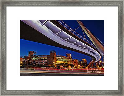 Petco Park And The Harbor Drive Pedestrian Bridge In Downtown San Diego  Framed Print by Sam Antonio Photography