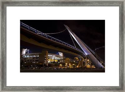 Framed Print featuring the photograph Petco Park And The Pedestrian Bridge by Nathan Rupert