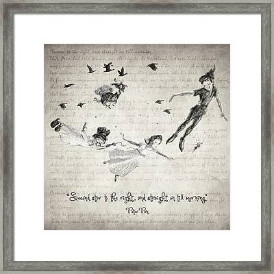 Peter Pan Quote Framed Print by Taylan Apukovska