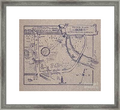 Peter Pan's Map Of Kensington Gardens Framed Print