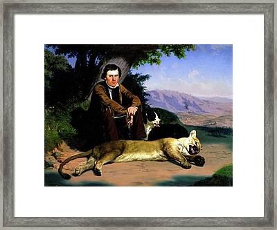Peter Quivey And The Mountain Lion Framed Print by Charles Christian Nahl