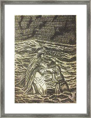 Peter Took His Eye Off Of Jesus And Started To Sink Framed Print