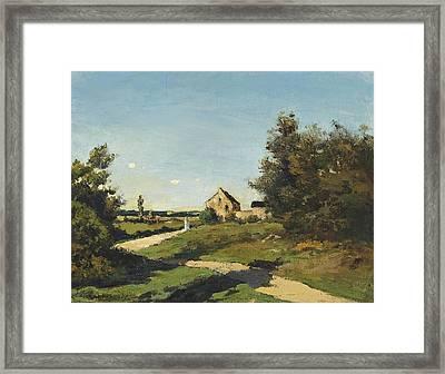 Petit Ferme Dans Un Paysage Framed Print by Henri Joseph