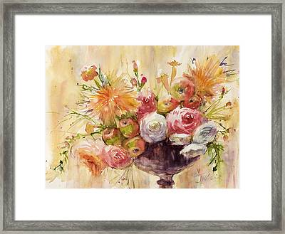 Petite Apples In Floral Framed Print by Judith Levins