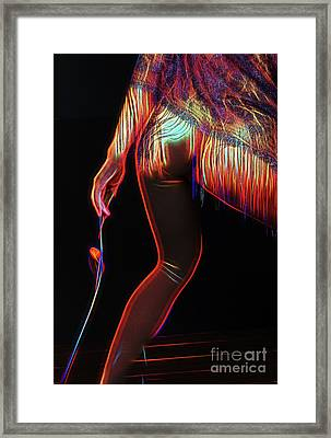 Petite Butt Muscular Legs And Rose In Neon - 3029nn Framed Print by Cee Cee - Nude Fine Arts