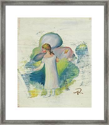 Petite Fille En Chemise Au Bord Framed Print by MotionAge Designs