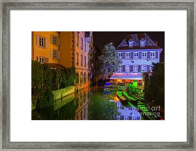 Petite Venise Colmar At Night  Framed Print by Yefim Bam