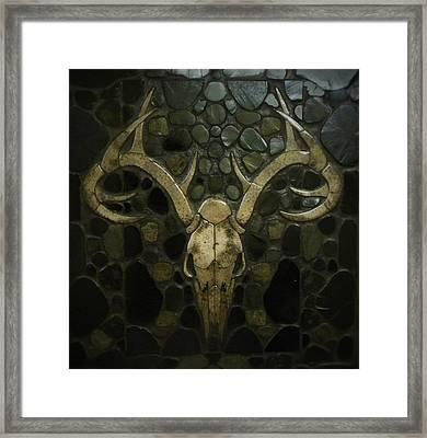 Petoskey Stone Whitetail Deer Framed Print